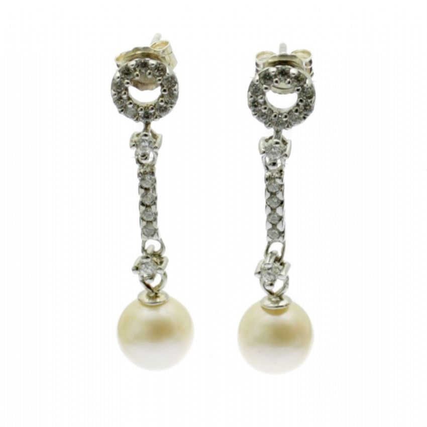 Round Pearl Drop Earrings Sterling Silver Studs Faux Diamond Inlay